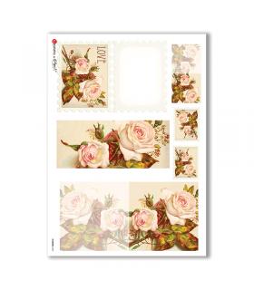 FLOWERS-0244. Papel de Arroz victoriano flores para decoupage.