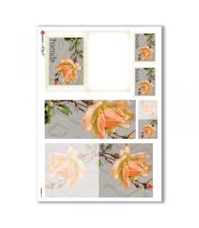 FLOWERS-0245. Papel de Arroz victoriano flores para decoupage.