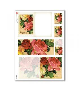 FLOWERS-0246. Papel de Arroz victoriano flores para decoupage.