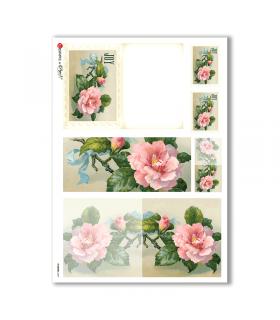 FLOWERS-0247. Papel de Arroz victoriano flores para decoupage.