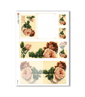 FLOWERS-0248. Carta di riso vittoriana fiori per decoupage.