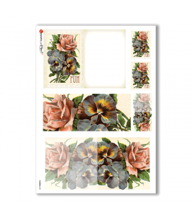 FLOWERS-0249. Carta di riso vittoriana fiori per decoupage.