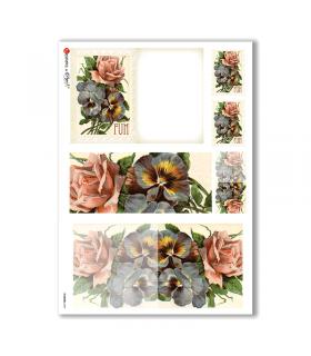 FLOWERS-0249. Papel de Arroz victoriano flores para decoupage.