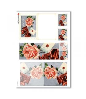 FLOWERS-0250. Carta di riso vittoriana fiori per decoupage.