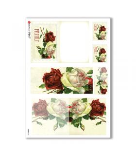 FLOWERS-0251. Papel de Arroz victoriano flores para decoupage.