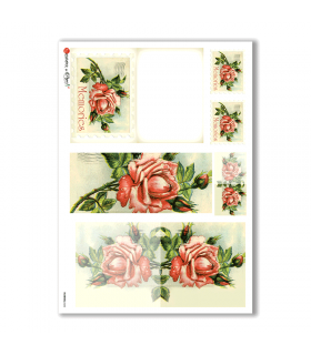 FLOWERS-0252. Carta di riso vittoriana fiori per decoupage.