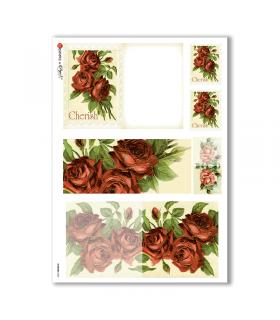 FLOWERS-0253. Carta di riso vittoriana fiori per decoupage.