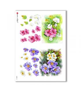 FLOWERS-0254. Carta di riso fiori per decoupage.