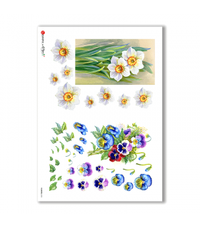 FLOWERS-0255. Carta di riso fiori per decoupage.