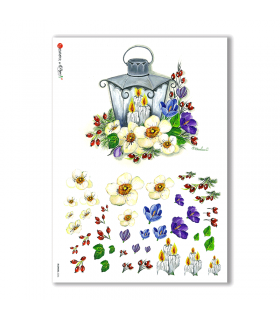 FLOWERS-0256. Carta di riso fiori per decoupage.