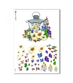 FLOWERS-0256. Papel de Arroz flores para decoupage.