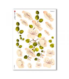 FLOWERS-0258. Carta di riso fiori per decoupage.