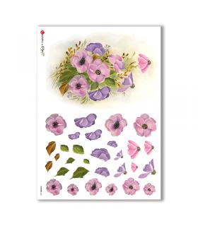 FLOWERS-0261. Papel de Arroz flores para decoupage.