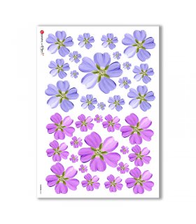FLOWERS-0263. Carta di riso fiori per decoupage.