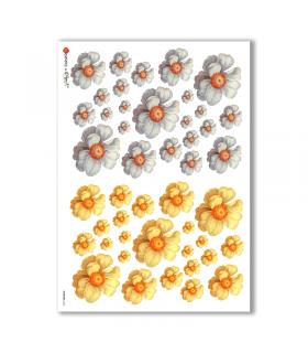 FLOWERS-0264. Papel de Arroz flores para decoupage.