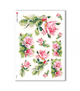 FLOWERS-0266. Papel de Arroz victoriano flores para decoupage.