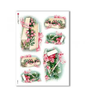 FLOWERS-0267. Carta di riso vittoriana fiori per decoupage.