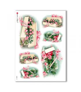 FLOWERS-0267. Papel de Arroz victoriano flores para decoupage.
