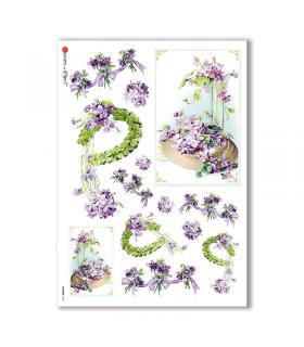 FLOWERS-0268. Papel de Arroz victoriano flores para decoupage.