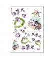 FLOWERS-0268. Carta di riso vittoriana fiori per decoupage.