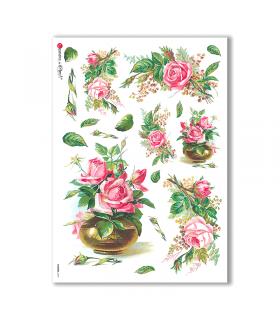FLOWERS-0269. Carta di riso vittoriana fiori per decoupage.