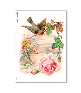 FLOWERS-0270. Carta di riso vittoriana fiori per decoupage.