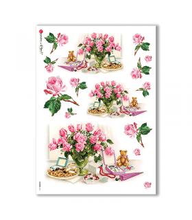 FLOWERS-0271. Carta di riso vittoriana fiori per decoupage.