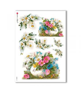 FLOWERS-0272. Carta di riso vittoriana fiori per decoupage.