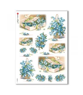 FLOWERS-0273. Carta di riso vittoriana fiori per decoupage.