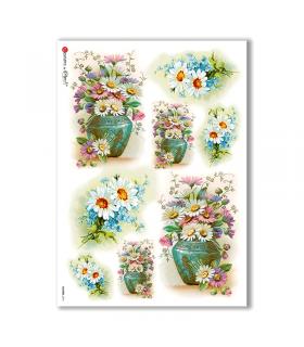 FLOWERS-0274. Papel de Arroz victoriano flores para decoupage.
