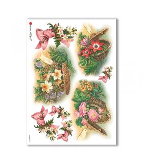 FLOWERS-0275. Carta di riso vittoriana fiori per decoupage.