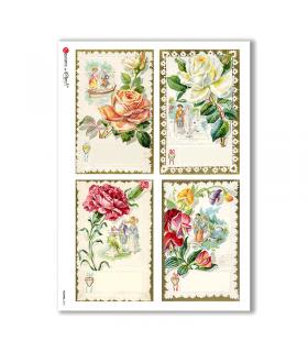 FLOWERS-0276. Carta di riso vittoriana fiori per decoupage.