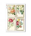 FLOWERS_0276. Carta di riso vittoriana fiori per decoupage.