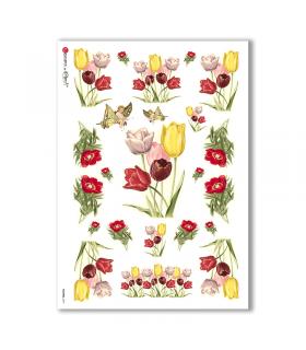 FLOWERS-0277. Carta di riso vittoriana fiori per decoupage.