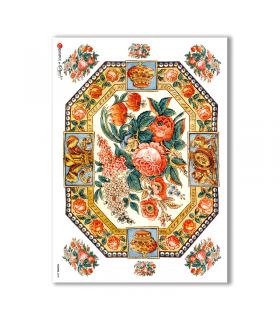FLOWERS-0278. Carta di riso vittoriana fiori per decoupage.