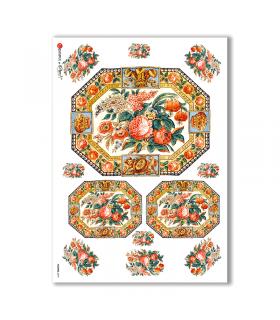 FLOWERS-0279. Papel de Arroz victoriano flores para decoupage.