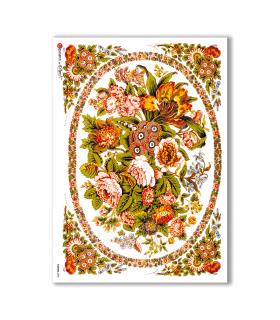 FLOWERS-0280. Papel de Arroz victoriano flores para decoupage.