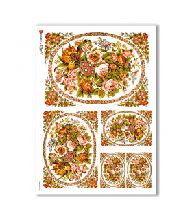 FLOWERS-0281. Carta di riso vittoriana fiori per decoupage.