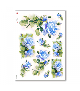 FLOWERS-0283. Carta di riso vittoriana fiori per decoupage.