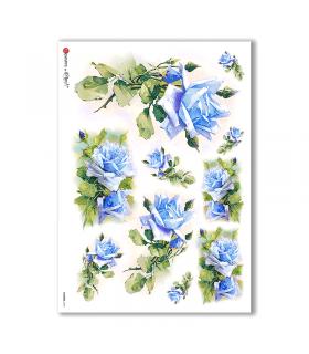 FLOWERS-0283. Papel de Arroz victoriano flores para decoupage.