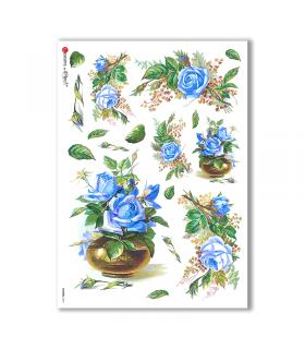 FLOWERS-0284. Papel de Arroz victoriano flores para decoupage.