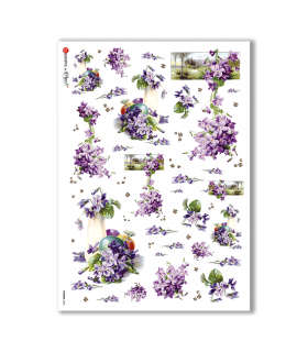 FLOWERS-0285. Carta di riso vittoriana fiori per decoupage.