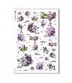FLOWERS_0285. Carta di riso vittoriana fiori per decoupage.
