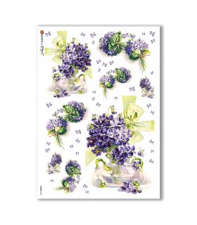 FLOWERS-0286. Carta di riso vittoriana fiori per decoupage.
