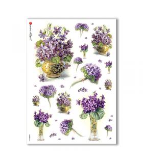 FLOWERS-0287. Carta di riso vittoriana fiori per decoupage.