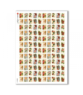 FLOWERS-0288. Carta di riso vittoriana fiori per decoupage.