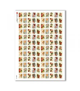 FLOWERS-0288. Papel de Arroz victoriano flores para decoupage.