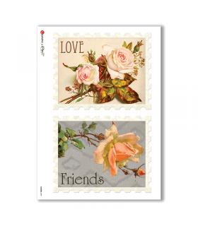 FLOWERS-0289. Carta di riso vittoriana fiori per decoupage.