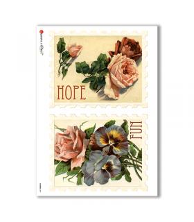 FLOWERS-0291. Papel de Arroz victoriano flores para decoupage.