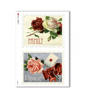 FLOWERS-0292. Carta di riso vittoriana fiori per decoupage.